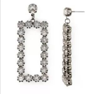 Aqua Brand Silver Tone Crystal Earrings Rectangle